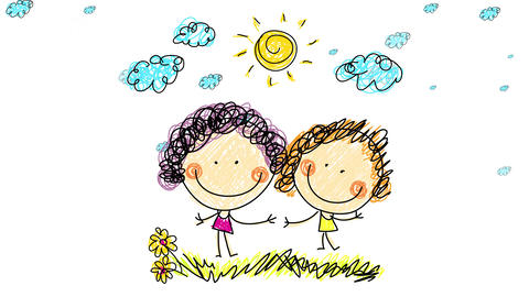joyful young girls posing for a picture smiling and waving standing on grassy field under the sun Animation