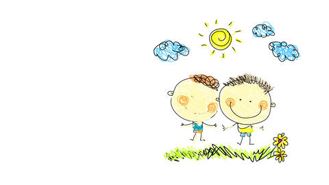 two brothers joyfully opening their arms in the air smiling and enjoying the good weather on a Animation