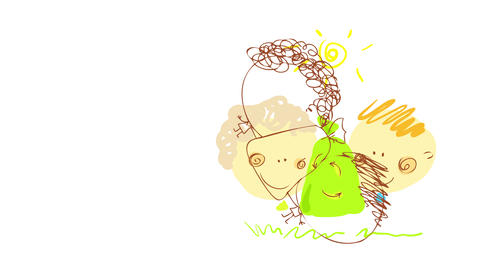 two joyful couple with green bag hand drawn by a kid for school as homework representing the Animation