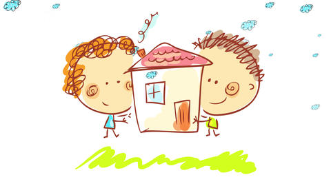 happy woman and man hugging a nice house with smoke coming out of the chimney on a green prairie Animation