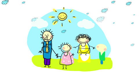 traditional father and mother raising their two kids a girl and a boy with love and understanding Animation