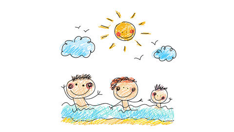 three happy young siblings having a great time at a pool under a smiley sun on cloudy sky painted Animation