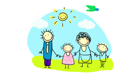 little kids portrait of a traditional nuclear family of four with businessman father the housewife Animation