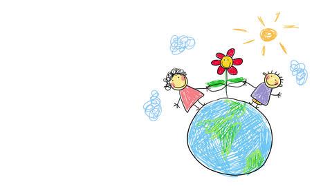 kids cheerfully holding the leaves of flower standing over the face of the earth under a sunny sky Animation
