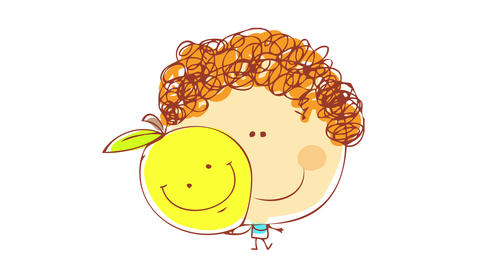 boy with curly red hair holding a yellow fluorescent lemon besides his head both with big smiles on Animation