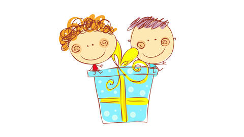 two kids with big smiles on their faces sitting on top of a huge gift box with blue wrapping paper Animation