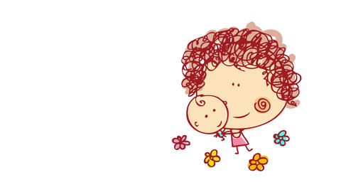 hand drawn young babysitter with pink dress and curly hair smiling and playing with a baby boy Animation