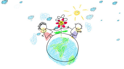 ecologically aware kids walking the earth holding a beautiful flower by the leafs with joyful face Animation