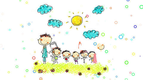 huge family of seven posing for a picture with five kids of close ages standing with their parents Animation