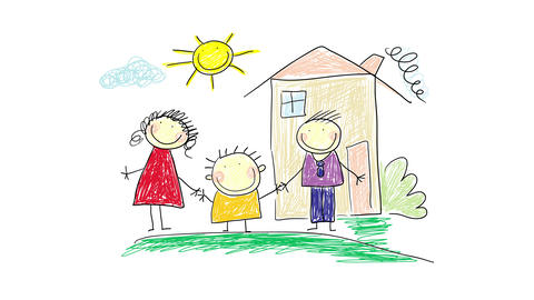 little boy holding hands with his mother and father outside a comfy home with a chimney on a summer Animation