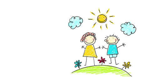 draw your family homework for elementary school kids with a couple of adults cheerful smiling and Animation