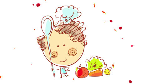 professional chef thinking on what to cook next with healthy organic vegetables floating around on Animation