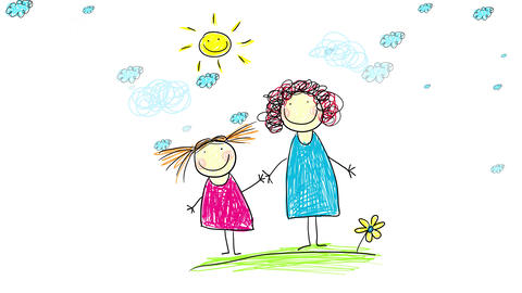 happy girl holding hands with her joyful mother standing over green grass and blue clouds moving Animation