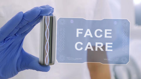 Hand in glove with hologram Face Care Live Action