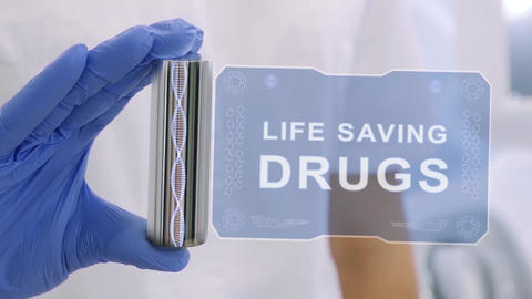 Hand in glove with hologram Life Saving Drugs Live Action