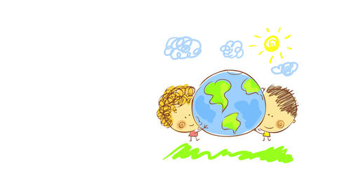 cute drawing of two kids hugging a globe on a summer day outside on open field representing love for Animation
