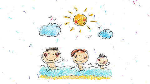 three little brothers joyfully waving and breaking the waves at the beach under the sun with a happy Animation
