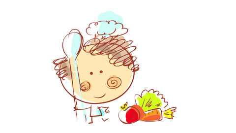 professional chef wearing matching apron and long hat over curly hair holding a bing spoon preparing Animation