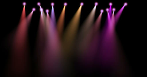 colorful stage lights movement, projectors in the dark, purple,red,blue soft light spotlight strike Live Action
