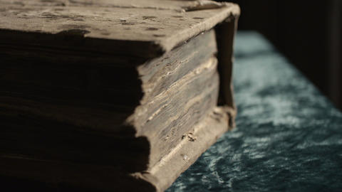 Slide shot of a very old book Live Action
