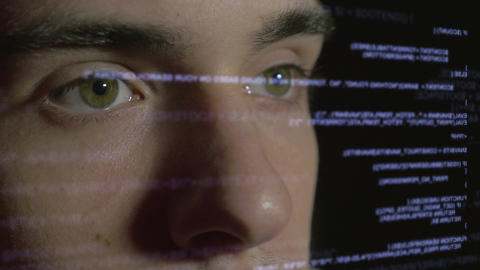 4k - Computer programmer coding on futuristic holographic display Footage