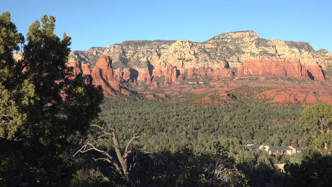 Sedona Arizona forest red rock valley home 4K Footage
