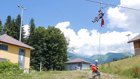 Rescuers coach downhill lift. Sochi, Russia Footage