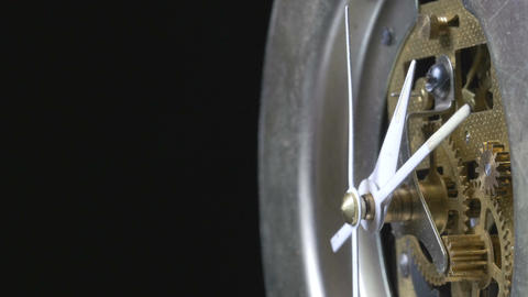 Close-up of a vintage mechanical clock running Footage
