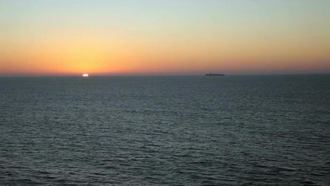 Ship ocean on horizon sunset P HD 4332 Footage