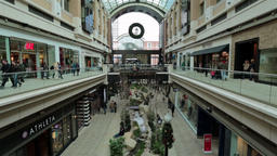 Shoppers in mall Christmas holiday rush fast timelapse HD 0242 Footage