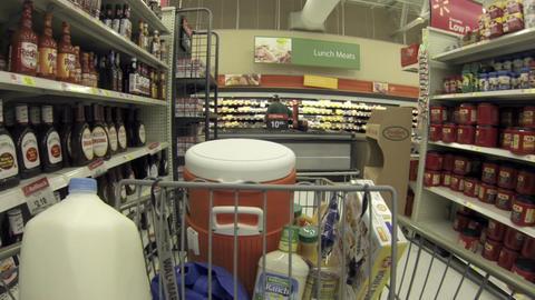 Shopping ketchup mustard food shelf POV HD 001 Footage