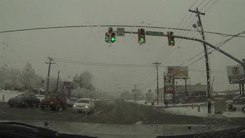 Snow storm driving urban street fast timelapse POV 0212 Footage