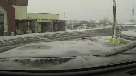 Snow storm truck leaving parking lot POV HD 0198 Footage