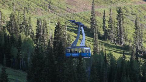 Snowbird resort tram at bottom P HD 0587 Footage