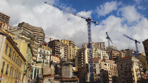 Buildings and Construction Cranes in Monaco Footage