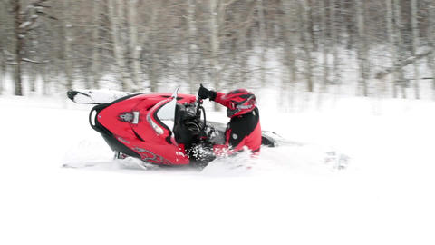 Snowmobile riders fun turns slow P HD 8294 Live Action