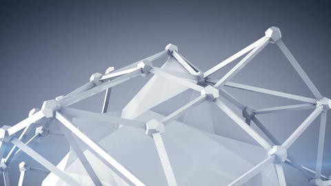 Glossy white polygon shape 3D render loop Animation