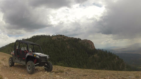 Sport utility side by side on top of mountain HD 006 Live Action