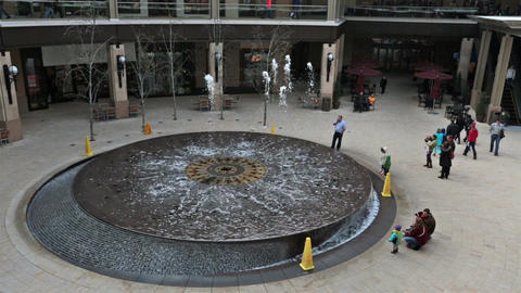 Splash water fountain luxury shopping mall HD 0253 Footage