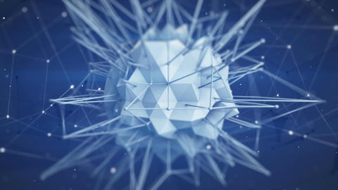 Macro shot of polygonal core shape. Abstract 3d render animation loop Animation