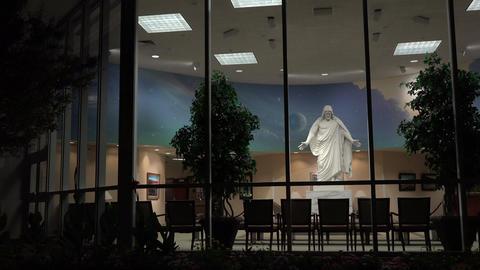 St George Utah Temple Visitor Center night Christus 4K Footage