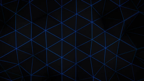 Glowing blue triangle polygons background loopable Animation