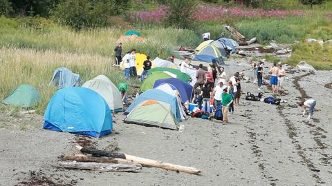 Teenagers camping on beach P HD 0059 Footage