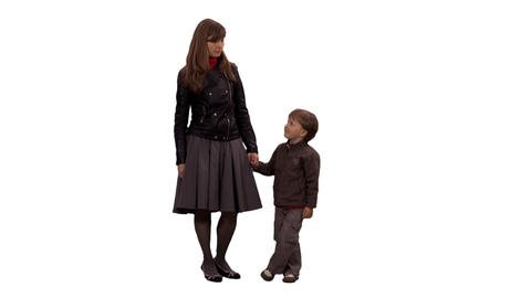 A female and little boy standing and waiting something, alpha channel Footage