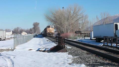 Train approaching crossing HD 8597 Footage