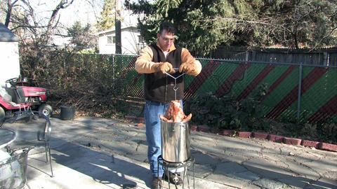 Turkey Deep fry insert in pot M HD Live Action