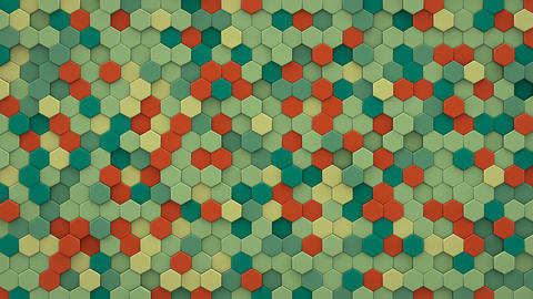 Chaotic extruded hexagons wall 3D render loopable animation Animation