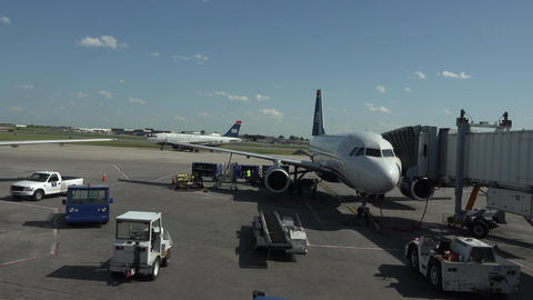 US Airways taxi runway operations Dulles International Airport DC 4K 036 Footage