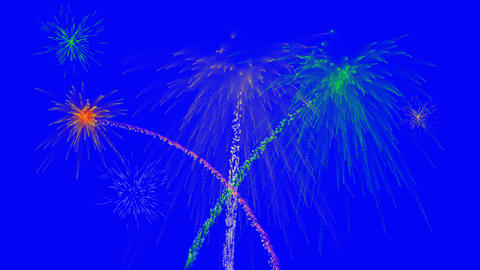 Fireworks show, blue screen chroma key, removable background, for editors CG動画