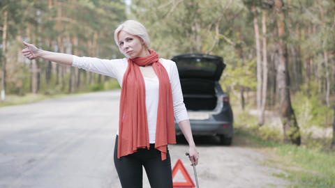Portrait of attractive blond woman with wrench in hand hitchhiking in front of Live Action